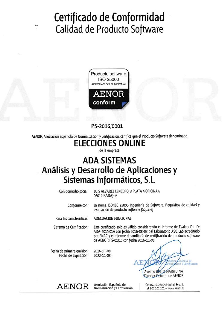 Functional Suitability Certificate Ada Sistemas