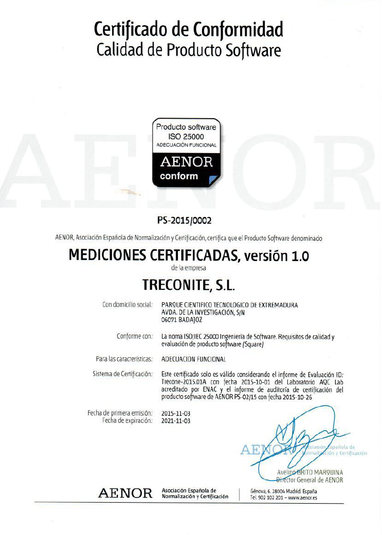 Certificate for Functional Suitability Trecone
