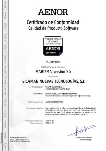 Certificado Adecuación Funcional SICAMAN-NT