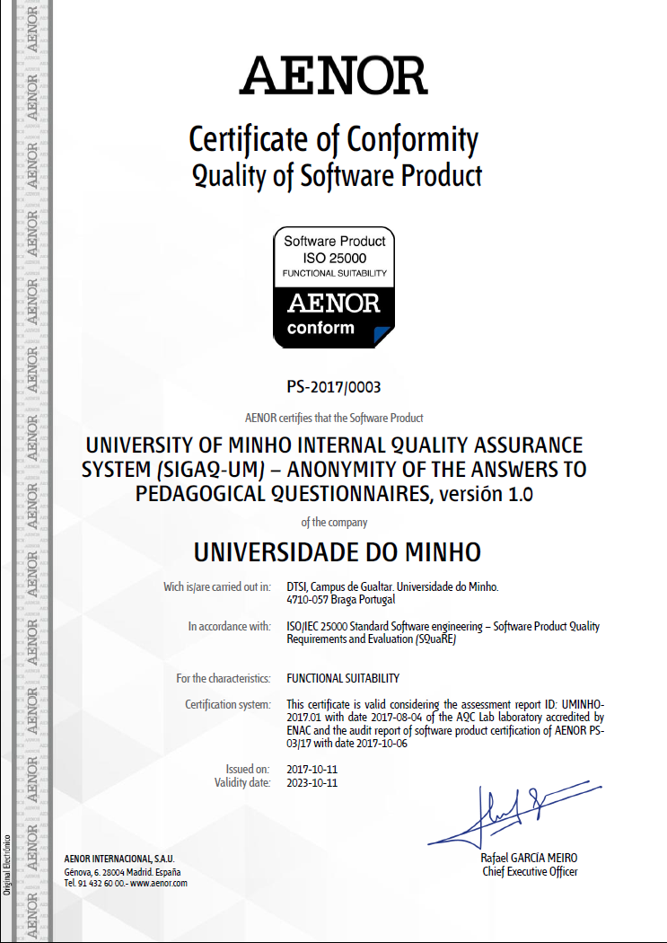 SIGAQ-UM, first ISO/IEC 25000 certificate for Functional Suitability ...