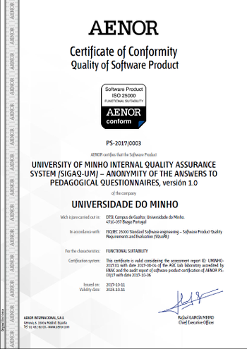 Functional Suitability certificate - UMinho
